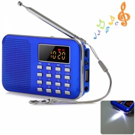 LCD Digita FM Radio Speaker USB SD TF Card Mp3 Music Player Blue