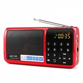 SAST N-519 FM Radio USB MP3 Player Speaker w/ Flashlight Function Red