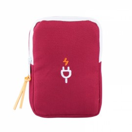 Multifunction Portable Travel Charger Storage Bag Digital Data Cable Storage Pouch Wine Red