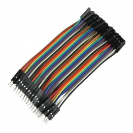 40pcs DIY Male to Female DuPont Breadboard Jumper Wire Black & Multi-color (10cm)
