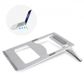 Aluminum Alloy Hybrid Laptop Stand Cooling Pad for Notebook/MacBook Silver Gray