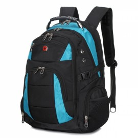 Individual Dual Colors Unisex Backpack with External Headphone Jack Black & Sky Blue