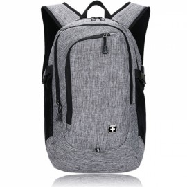 "15"" Portable Oxford Laptop Backpack with External USB Interface Gray"