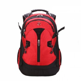 Fashionable Unisex Backpack with External Headphone Jack Red