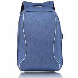 High Capacity Practical Backpack Computer Bag with External USB Charging Interface Blue