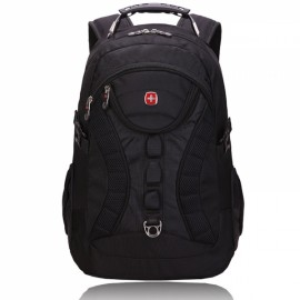 High Capacity Practical Backpack with External USB Interface Black