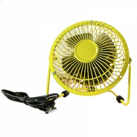 Portable Ultra Mute 360-Degree Rotation Blowing Metal USB Mini Fan for Laptop PC Yellow