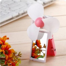 USB Battery Operated Dual-use Mini Portable Mirror Fan Pink