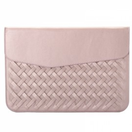 "12"" Weaving Laptop Bag PU Leather Case Cover Bag for Xiaomi Makbook Laptop Pink"
