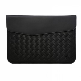 "12"" Weaving Laptop Bag PU Leather Case Cover Bag for Xiaomi Makbook Laptop Black"