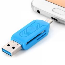 Portable OTG TF / SD Card Reader with USB 2.0 / Micro USB Interface Blue