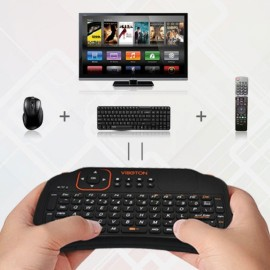 VIBOTON S1 Mini 2.4GHz Wireless Smart Keyboard with Touchpad for Mini PC Android TV HTPC Black English Version