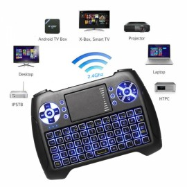 2.4G Air Mouse Tricolor Backlight Mini Keyboard Air Mouse Remote Control Blue Light