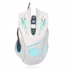 A888 Star Pattern Wired Mouse White
