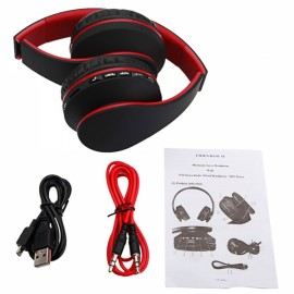 HY-811 Foldable FM Stereo MP3 Player Wired Bluetooth Headset Black & Red