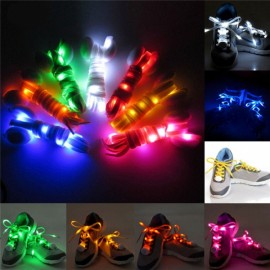 2pcs Nylon LED Shoelaces Flat Luminous Shoelace for Sneakers White
