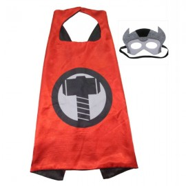 Kids Costume Super Hero Cape & Mask Thor Child Cosplay Suit Red & Black