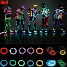4M LED Flexible Neon EL Wire Light 3-Mode Party Dance Decor Light Red