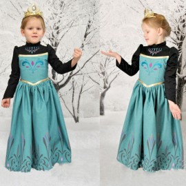 Kids Frozen Anna Disney Princess Embroidery Dress Party Costume 140cm