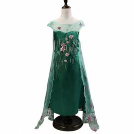 Girl Elsa Frozen Dress Costume Princess w/ Flower Glittering Cape 110cm