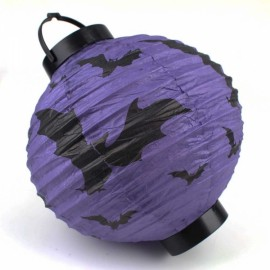 Halloween LED Paper Pumpkin Hanging Lantern Holiday Party Decoration Purple