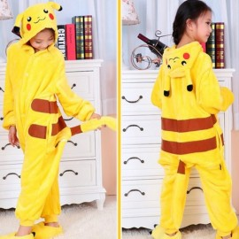 Cute Cartoon Style Smiling Pikachu Pattern Kids' Flannel Sleepwear Jumpsuits (100-110cm) Yellow
