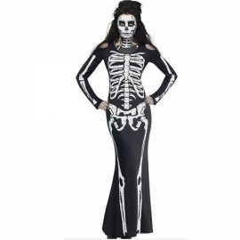 Women's Scary Skeleton Long Dress Halloween Cosplay Costume - L