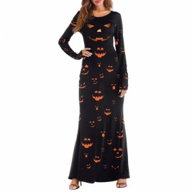 Women's 3D Printed Crewneck Pumpkin Long Sleeve Loose Plain Halloween Maxi Long Dresses - T2003 L/XL