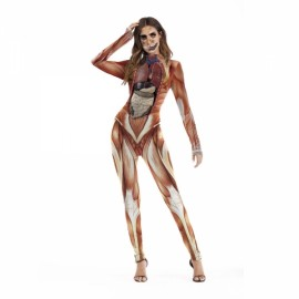 Women's Scary Skeleton Skull Bloody Print Bodysuit Halloween Cosplay Costume Jumpsuit - T1004 L/XL