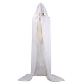Hooded Velvet Cloak Full Length Long Cape for Christmas Halloween Cosplay Costumes - White XS