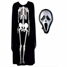 Halloween Scary Skull Skeleton Cosplay Costume Clothes Robe for Adult Men Women with Screaming Mask