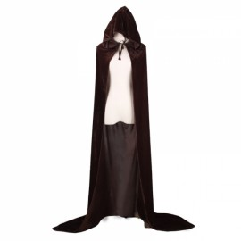 Hooded Velvet Cloak Full Length Long Cape for Christmas Halloween Cosplay Costumes - Coffee M