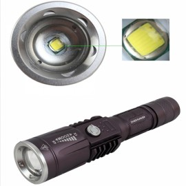 "ZSJ NHX-Y95  T6 ""900LM"" 1-LED 3-Mode White Stretchable Zooming Flashlight Grey (1 x 18650 / 3 x AAA)"