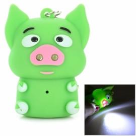 2-LED White Light Cute Cartoon Pig Style Keychain w/ Sound Effect Green