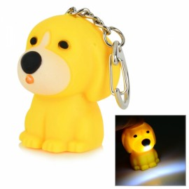LED White Light Cute Dog Style Keychain with Sound Effect Yellow