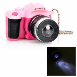 Camera Style LED White Flashlight Keychain w/ Sound