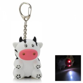 Cute Dairy Cow Style 2-LED White Light Keychain with Sound Effect White & Black & Multi-Colored