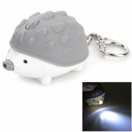 LED Keychain Hedgehog Style White Light w/ Sound Effect Gray & White