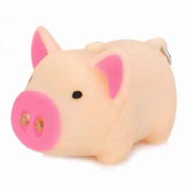 Cool Pig Style 2-LED White Light Keychain w/ Sound Effect Beige & Rose Red