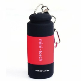 Mini 25 LM USB Rechargeable LED Torch Flashlight Pocket Keychain Red
