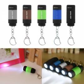 Mini 25 LM USB Rechargeable LED Torch Flashlight Pocket Keychain Purple