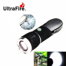 UltraFire Super Bright Flashlight Outdoor Camping Light Black & Silver