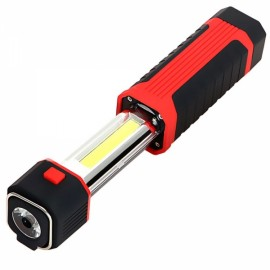 multifunction 3W COB LED Stretchable Flashlight Camping Light w/ Magnet Red