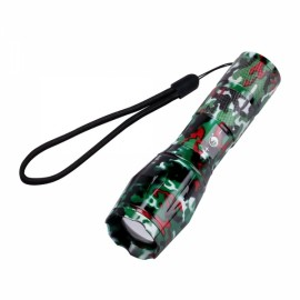 U'King ZQ-X1061RC# T6 1000LM 5 Modes Stylish SOS Zoomable Flashlight US Plug Red Camouflage