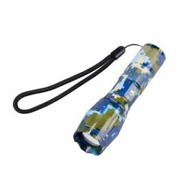 U'King ZQ-X1061BC# T6 1000LM 5 Modes Stylish SOS Zoomable Flashlight US Plug Blue Camouflage