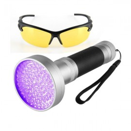 100 LED UV UltraViolet Blacklight Flashlight Lamp Torch Inspection Light Glasses