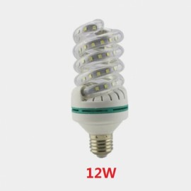 E27 12W SMD 2835 Spiral Shape LED Corn Light Bulb - Cold White