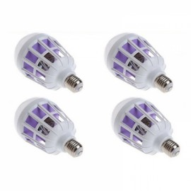 4pcs E27 LED Lighting Anti-mosquito Bulb Light 15W Bird Cage Mosquito Killer Power Grid Anti-mosquito Artifact Purple