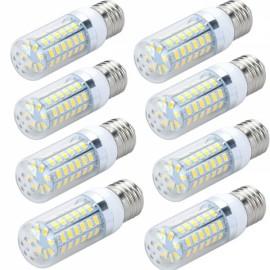 8pcs LED Corn Lamp Bulb E27 12W 820LM 6500K 56-SMD 5730 110V White Light