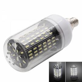 E12 15W 6000-6500K White Light 138-SMD4014 LED Corn Lamp Bulb (AC 110-130V) Silver & White